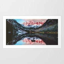 Panoramic Mountain Sunrise on the Colorado Maroon Bells Art Print