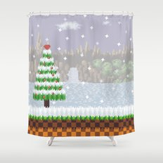 Green Hill Christmas Shower Curtain