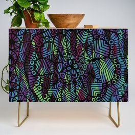 Purple and Green Doodle 14 Credenza