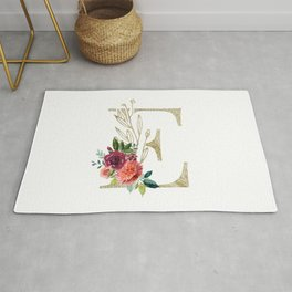 Gold Foil Monogram Letter E with watercolor flowers Rug