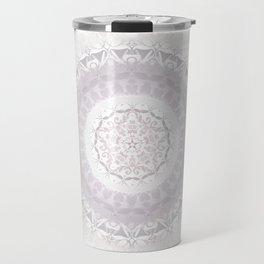 Floral Damask Mandala Blush White Travel Mug