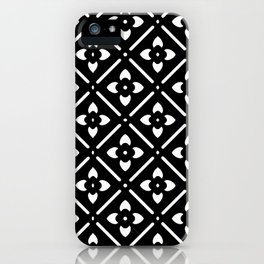 Nordic Edelweiss in Black and White iPhone Case