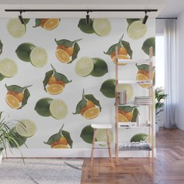 Lime and Clementine Fruits Pattern on White Background Wall Mural