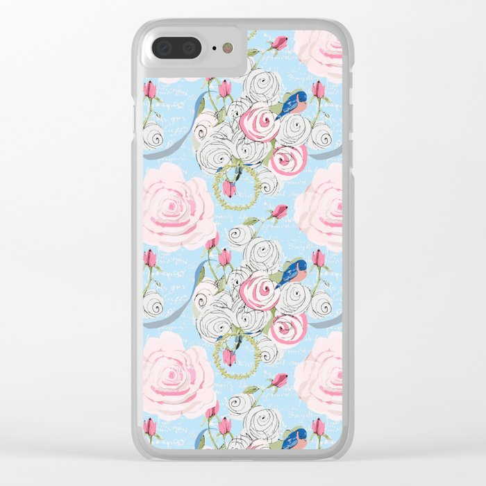 Bluebirds and Watercolor roses on pale blue with white French script Clear iPhone Case