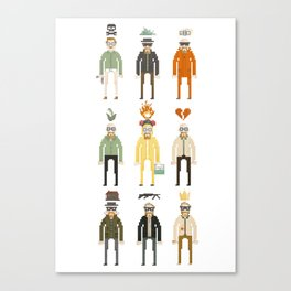 Walter White Pixelart Transformation- Breaking Bad Canvas Print