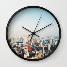 Tokyo Cityscape With Tokyo Tower on Sunny Day Shot on Film (Porta 400) Wall Clock