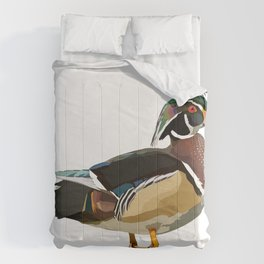 Colorful Wood Duck Illustration Comforters