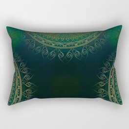 """Dark Clover Green & Gold Mandala Deluxe"" Rectangular Pillow"