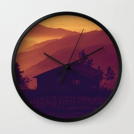 Monochrome Ombre Sunset Purple Orange Hues Cabin House by the Ocean Cliffs Wall Clock