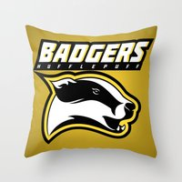hufflepuff Throw Pillows featuring Badgers Hufflepuff  by Fresco Umbiatore