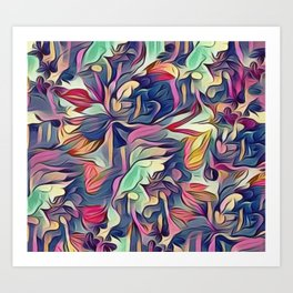 Midnight Floral Abstract Art Print