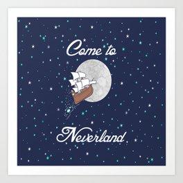 Peter Pan Neverland in Navy Art Print