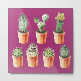 Watercolor cactus and hedgehog friend Metal Print