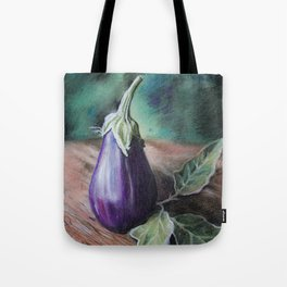 "Pastel Drawing ""Elegant Eggplant"" Tote Bag"