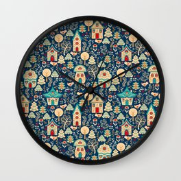 Fabulous Houses in a Magical Forest. Wall Clock