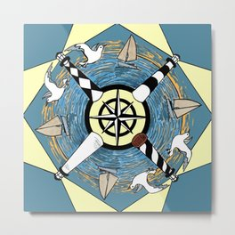OBX Lighthouse Mandala Metal Print