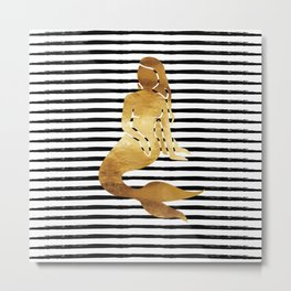 Mermaid & Stripes - Black Metal Print