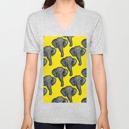 elephant in yellow Unisex V-Neck