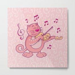 Pink Cat with Violin Metal Print