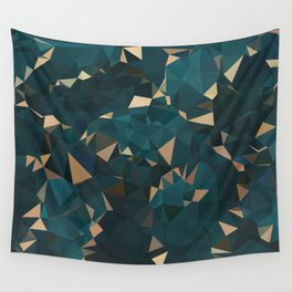 Gold Teal Abstract Low Poly Geometric Triangles Wall Tapestry