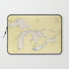 Vintage Map of The Great Lakes (1966) Laptop Sleeve