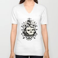 death V-neck T-shirts featuring Mrs. Death by Enkel Dika