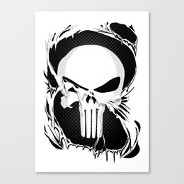 Punisher Skull Within Ripped Fabric Canvas Print