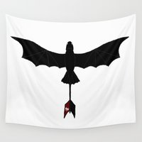 toothless Wall Tapestries featuring Black Toothless by Jozi