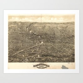 Vintage Pictorial Map of Rochester NY (1880) Art Print