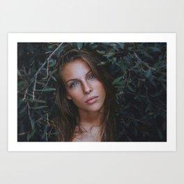 Beautiful Woman With Blue Eyes Art Print