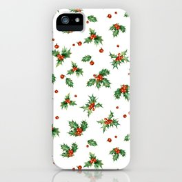 Holly Berry Leaves iPhone Case