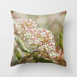 Vintage Inspired Pink and White Woodland Flowers with French Script Throw Pillow