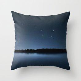Big Dipper, Ursa Major star constellation, Night sky, Cluster of stars, Deep space Throw Pillow