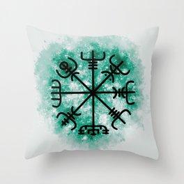 VEGVISIR Nordic sign post compass wayfinder Green Throw Pillow