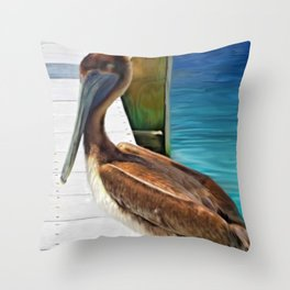 Dockside Pelican by Barbara Chichester Paintographer Throw Pillow