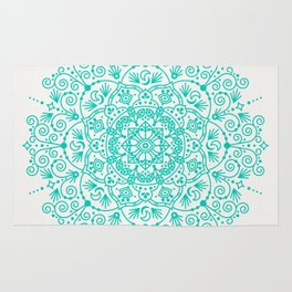 Moroccan Mandala – Turquoise Palette Rug