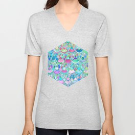 Art Deco Watercolor Patchwork Pattern 2 Unisex V-Neck