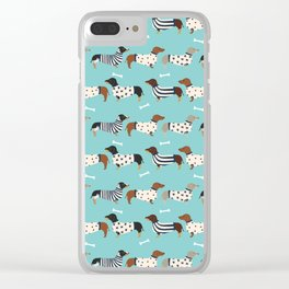 Dachshund sweaters cute gifts for dog lover pet friendly dog breed dachsie doxie dogs Clear iPhone Case