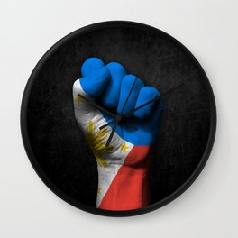 Filipino Flag on a Raised Clenched Fist Wall Clock