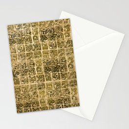 Mayan and aztec glyphs gold on vintage texture Stationery Cards