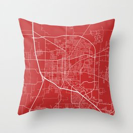 Denton Map, USA - Red Throw Pillow