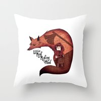red riding hood Throw Pillows featuring Little Red Riding Hood by olivier silven