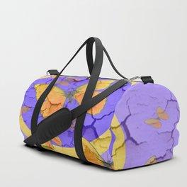 OLD YELLOW BUTTERFLIES &  LILAC WALLPAPER MODERN ART  f Duffle Bag