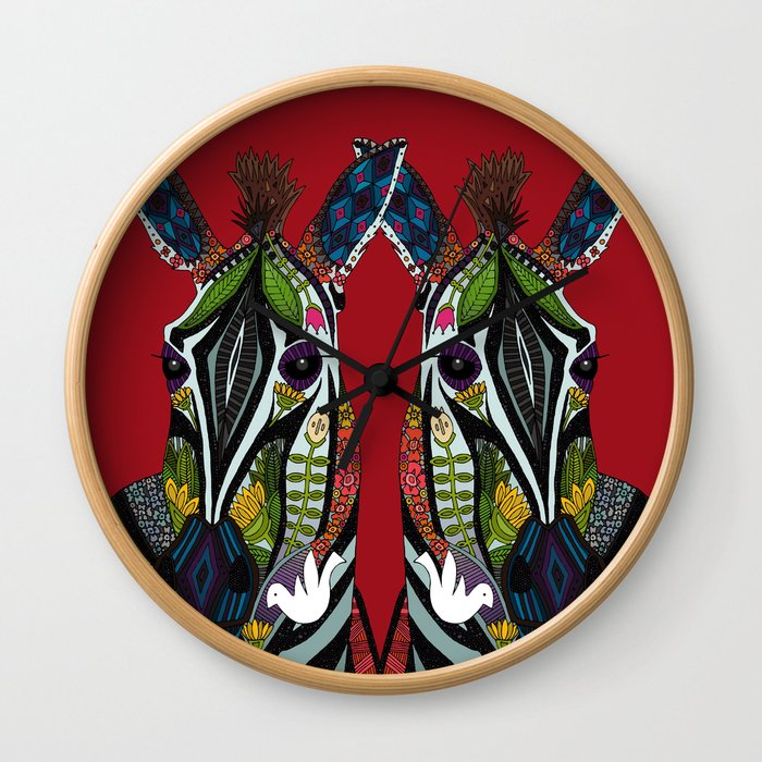 zebra love red Wall Clock