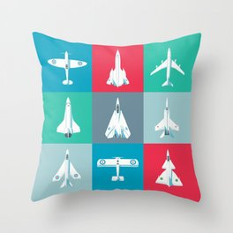 Classic Iconic Aircraft Pattern Throw Pillow