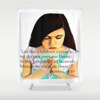scripture Shower Curtains featuring Matthew 19:14 Bible scripture by Saribelle by Saribelle Inspirational Art