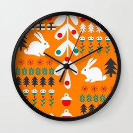 Sweet Christmas bunnies Wall Clock