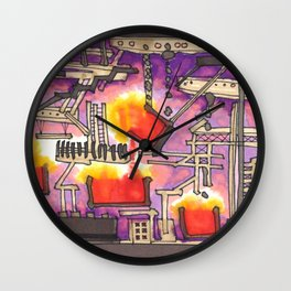 Industrial Steel Architectural Illustration Wall Clock