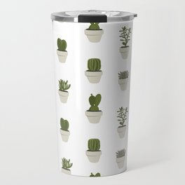 Cacti & Succulents - White Travel Mug