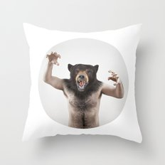 Therianthrope - Angry Bear Throw Pillow